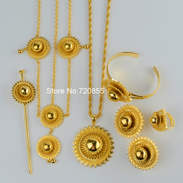 Big Size Habesha ethiopian set jewelry necklaces/earrings/ring/hair chain/hair pin women 22K gold plated sets africa eritrea
