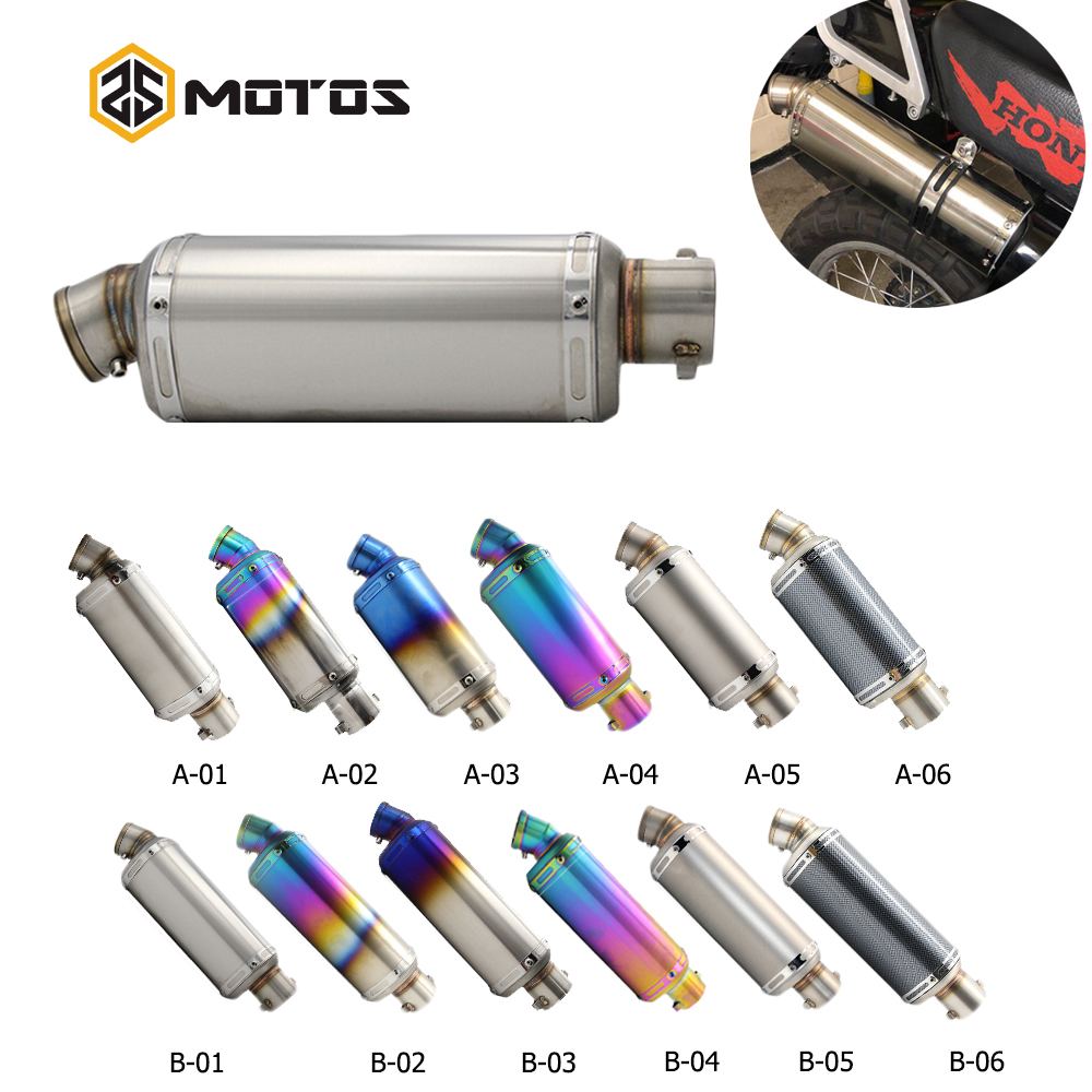 ZS MOTOS Universal Motorcycle Exhaust Akrapovic Dirt Pit Bike Exhaust Escape Modified Scooter Yoshimura Muffler For