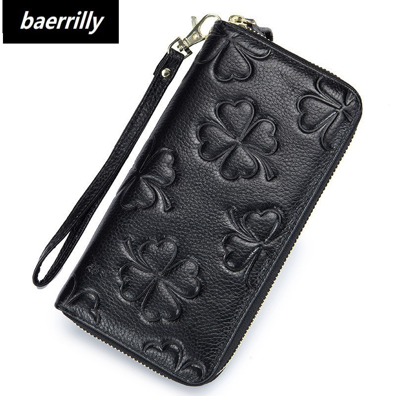 Fashion Genuine Leather Women Wallet Female Long Clutch Lady Walet Portomonee Rfid Luxury Brand Money Bag For Girls Coin Purse