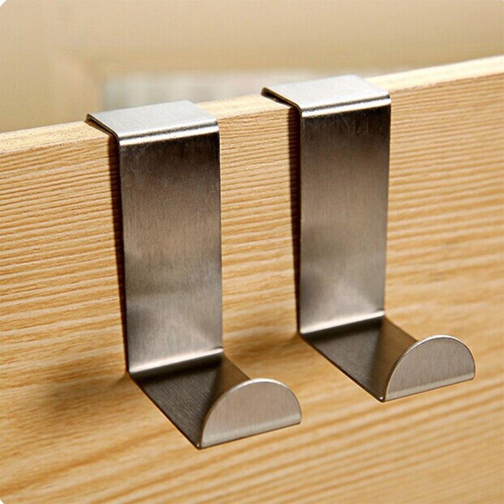 2 Pcs/Set Stainless Steel Door Hooks Over Cabinet Drawer Room Door Hook Kitchen Bathroom Hanger Hook Coat Clothes Hook