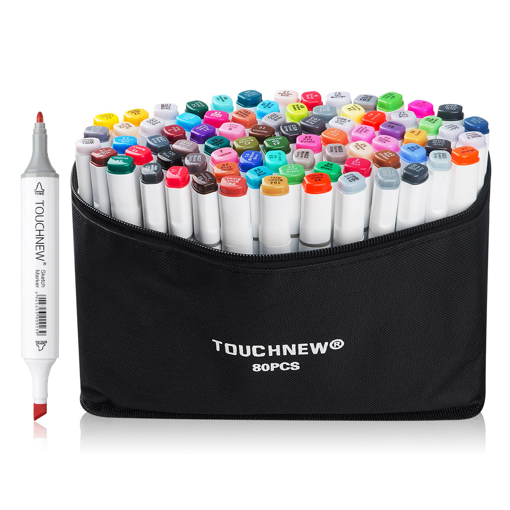 TOUCHNEW 80 Color Set Marker Pen Twin Tips Sketch Alcohol-based Art Markers Common Design White Body + Carry Bag