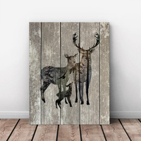 HAOCHU Animal Family Elk Retro Modern Minimalist Decorative Wood Painting Murals Hotel Restaurant Wall Pictures