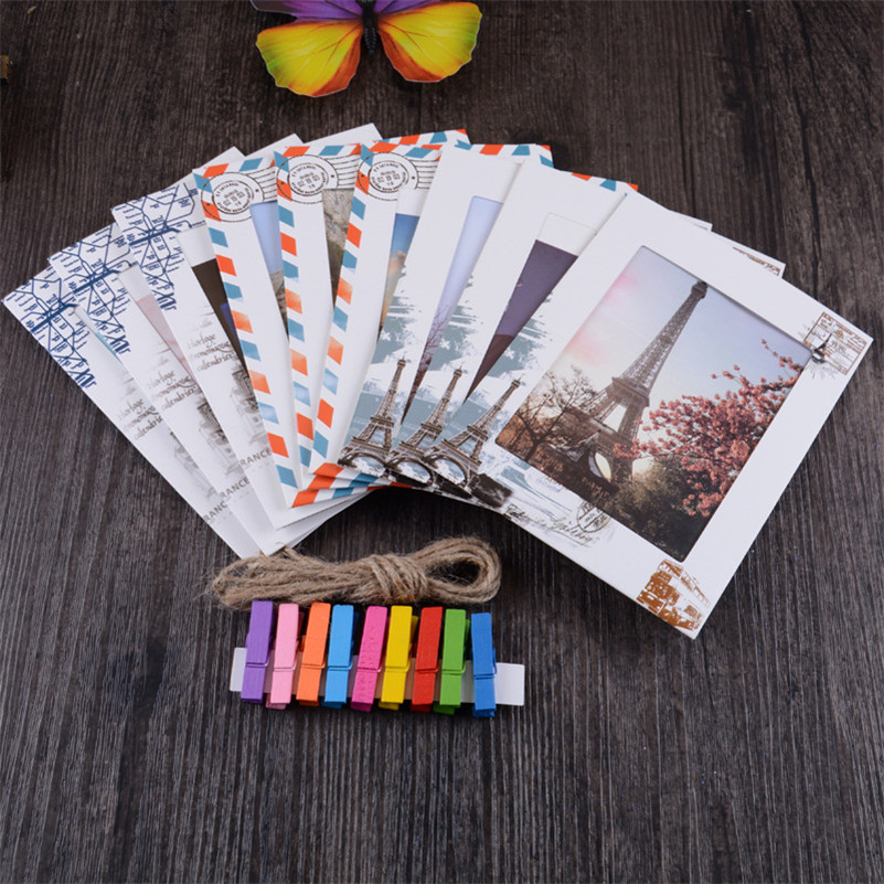9pcs/set 6 inch Art Paper Photo Frame + 9 Clips + 1 Rope Creative Vintage House Family DIY Festival Wall Hanging Home Decor