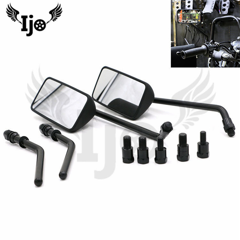 free shipping black rectangle motorcycle side mirror for harley moto rearview mirror unviersal 10MM 8MM moto rear view mirrors