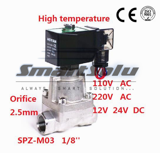 Free shipping16bar 2 way SS304 high temperature hot water DC24V solenoid valve for steam 1/8 BSP Orifice 2.5mm normal close dn25 high temperature solenoid valve for steam