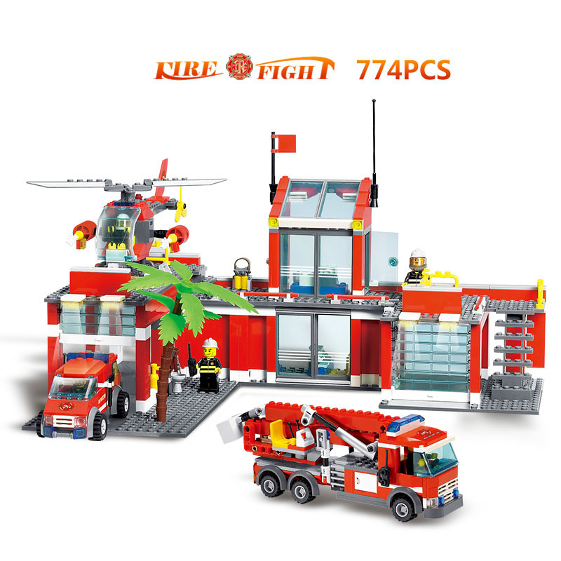 New bricksKazi Building  For Children City Emergency Rescue Fire Station  Building Sets Education Toys lepin enlighten 2017 new 911 970pcs city series fire station rescue control regional bureau building block brick toy toys for children