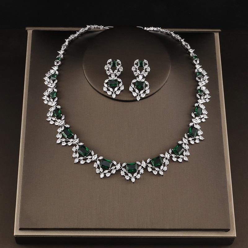 цена на Beautiful Zircon Necklace Earrings Set Wedding Bridal Party Jewelry Set Dress Up AAA Cubic Zirconia Stone