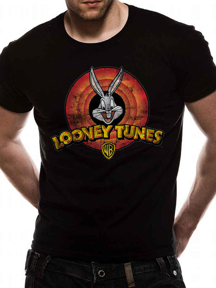 Looney Tunes Logo Bugs Bunny Daffy Duck Vintage Official Black Mens T-shirt Short Sleeve T shirt Cotton T Shirts top