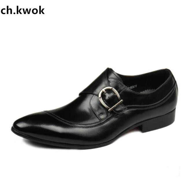 CH.KWOK Retro Men Evening Party Dress Oxfords Shoes Buckles Men Autumn Outdoor Sneakers Oxfords Flats Italian Leather Shoes Man