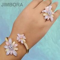 Fashion Blossom Dubai Jewelry Sets AAA Cubic Zirconia Nigerian Indian Wedding Jewelry Sets For Women Bridal Wedding Engagement