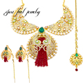 2016 New India Kundan 3PC Unique Maxi Necklace Pearl&Rhinestones Moon Shape Crystal Tassels Gem Statement Complex Pendant Choker