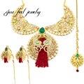 2016 nueva india kundan 3 unid único maxi collar de perlas y diamantes de imitación forma de la luna de cristal borlas declaración joya colgante complejo choker