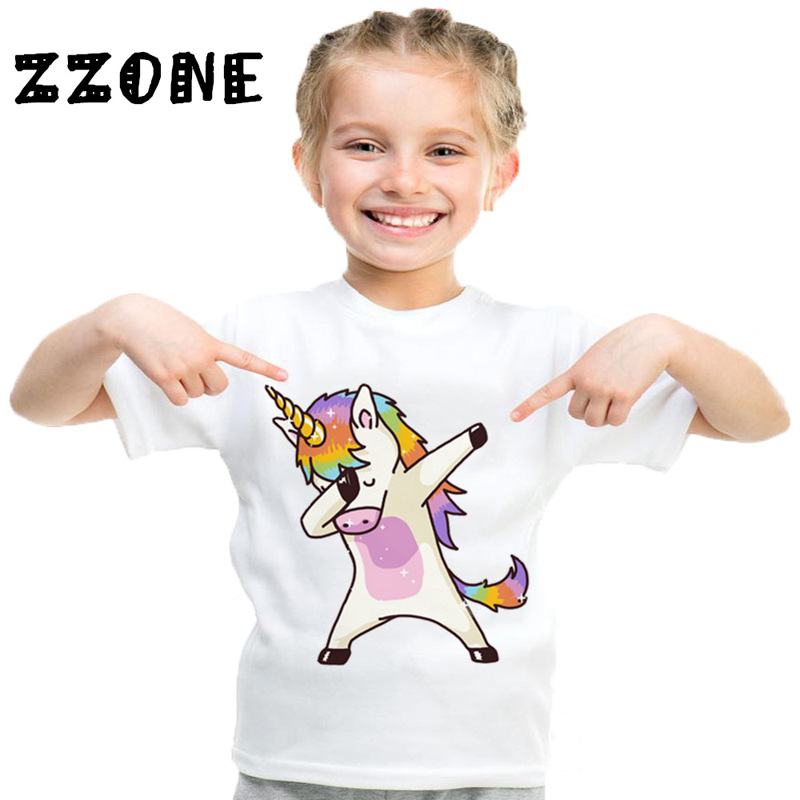 2017 Harajuku Dabbing Unicorn Funny Children T-Shirts Summer Tops Short Sleeve Boys/Girls Clothing Casual Baby Kids Tees,HKP2197