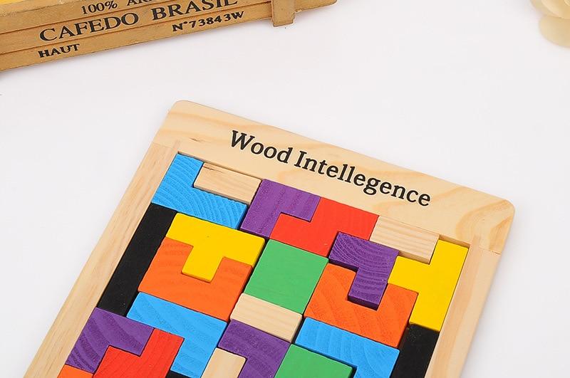Vruće prodaja šarene drvene tangram mozgalice puzzle igračke - Igre i zagonetke - Foto 4