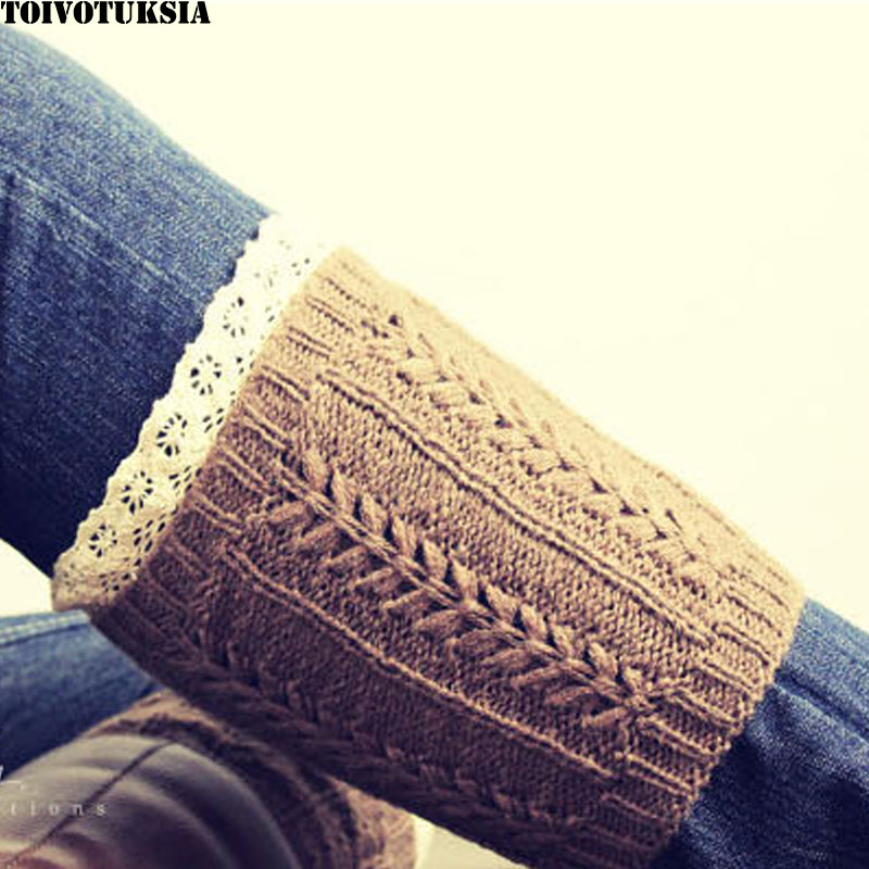 TOIVOTUKSIA Knit Boot Cuff Socks for Ladies with Frill Lace and Crotchet Design for Women Knit Boot Cuffs