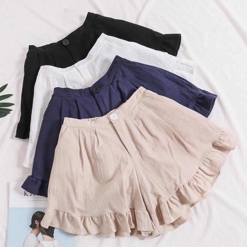 2018 Summer Plus size Short women Wide Leg Female Shorts Casual Loose Ladies Khaki High waist thin pantalones cortos
