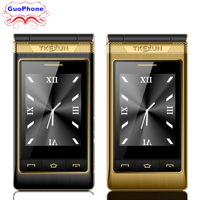 TKEXUN G10 Women Flip Phone With Double Dual Screen Dual Sim Camera MP3 MP4 <font><b>3.0</b></font> Inch Touch Screen Luxury Senior phone Cell Phone image
