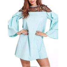 Women Summer Fashionable Lace Dresses Long Flare Sleeve A-Line Mini Casual Dress Solid Color Female vestidos de festa