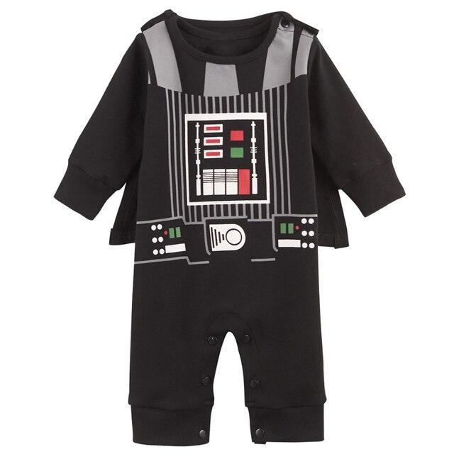 Baby Boy Darth Vader Romper Star War Costume Jumpsuit with Cloak Size 0-18 Months
