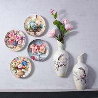 10inch Palace Flowers Hanging Plate Ceramic Wall Dish for Living Room Decoration Adornment Crafts Xuanguan Round Saucer Dish