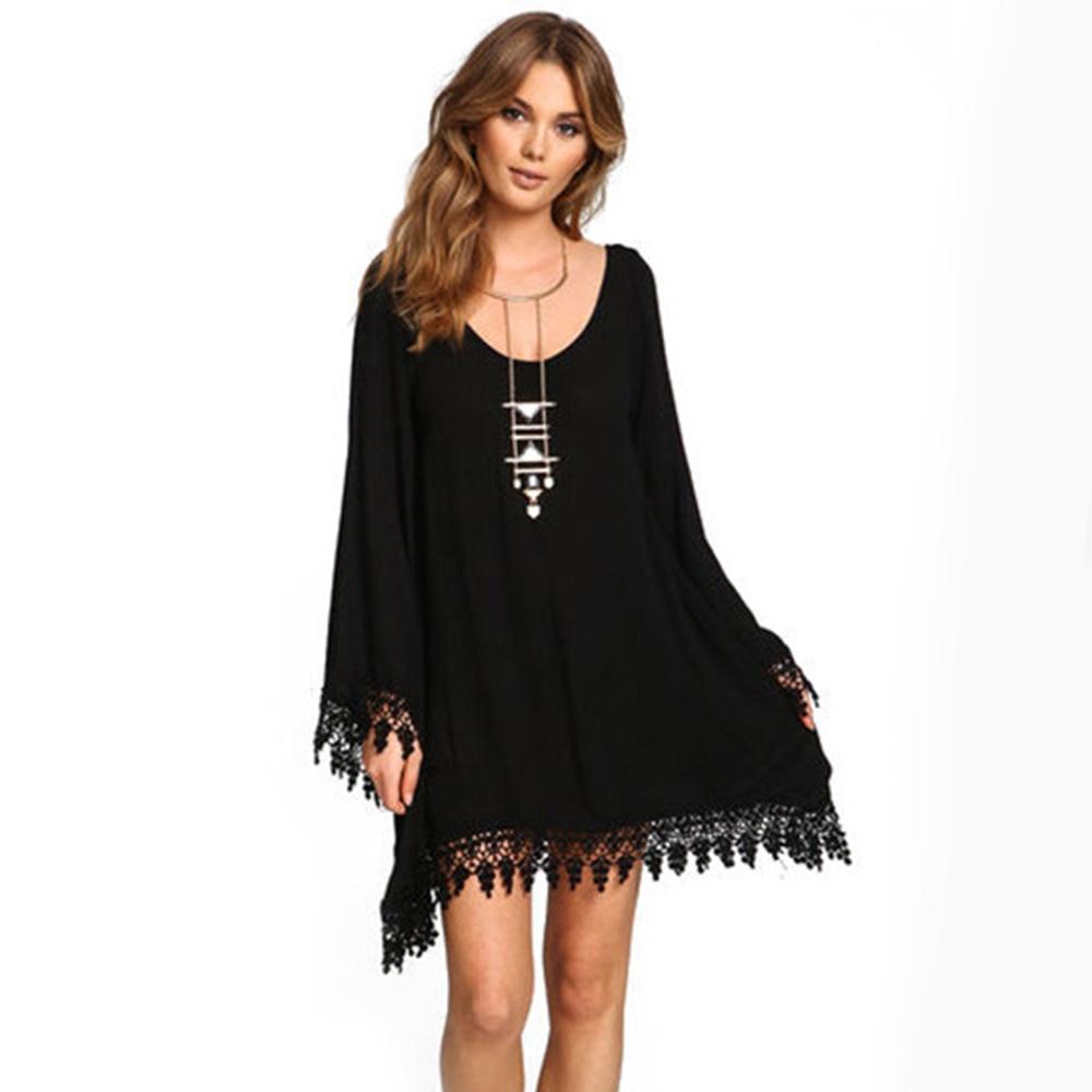 LARGERLOF Dresses Large Sizes Elegant Dress Plus Size Tassel Jumper Dress  Long Sleeve Dress Women DS57124