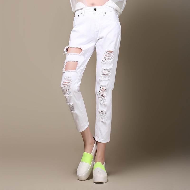 Women Summer Large Size Loose Pants Casual Trousers For Ladies White Ripped High Waist Pencil Pants Denim Ankle Length Jeans high waist jeans women plus size femme stretch slim loose large size jeans pants 2017 casual ankle length haren pants trousers