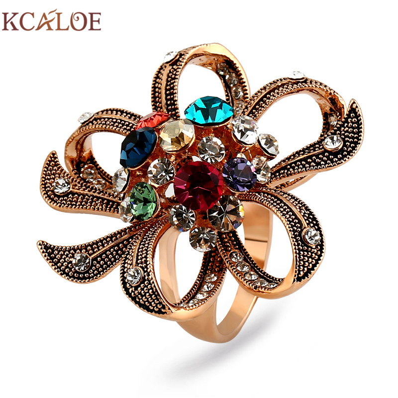 KCALOE Rose Gold Color Big Flowers Wedding Rings Fashion Colorful Austrian Crystal Rhinestone Women Engagement Ring Anillo