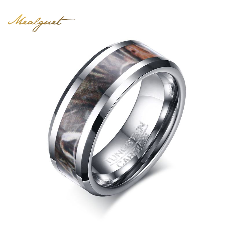 meaeguet 8mm camouflage hunting tungsten carbide ring for men camo trees leaves ringchina - Mens Camo Wedding Ring