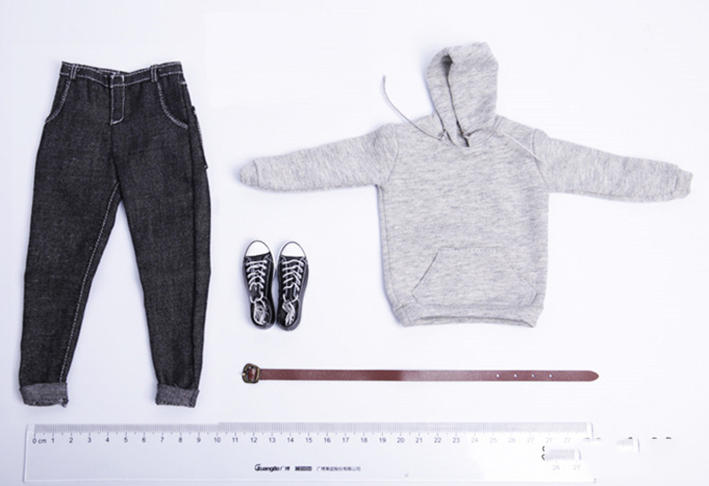 1/6 Scale Men's pullover Hooded sweater+denim library +sneakers set For 12 Action Figure Male Nude Body Model Toys image