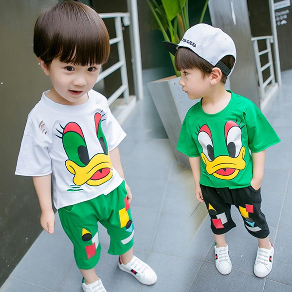 Для мальчиков ясельного возраста летняя одежда От 3 до 8 лет Детская одежда футболки с героями мультфильмов + брюки 2 шт. костюм Одежда для дет...