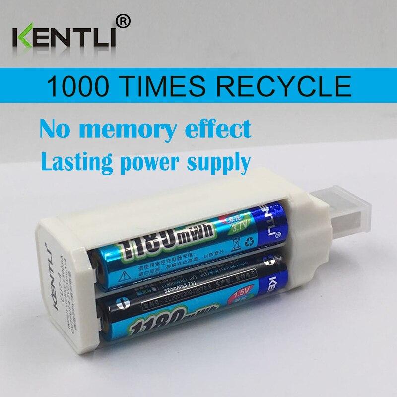 4 pz KENTLI 1.5 v 1180mWh aaa batterie ai polimeri di litio ricaricabile li-ion battery + 4 slot caricabatterie agli ioni di litio