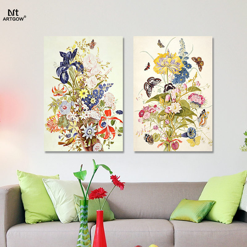 2pcs Modern Fashion Flowers Butterfly Picture Decoration Flower Arrangement Canvas Painting Living Room Wall Art Print Unframed In Calligraphy