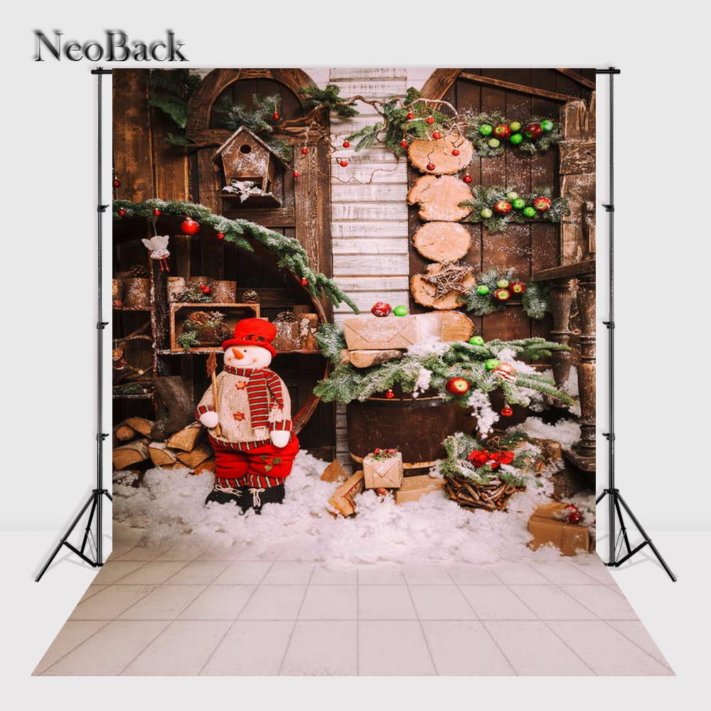 NeoBack New 5X7ft  baby Christmas gifts backdrop Digital Printed vinyl fireplace photography background photo studio B1134 pdo gold