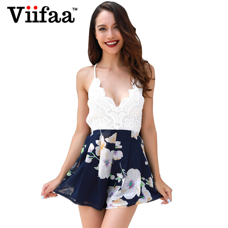 Viifaa Floral Print Chiffon Sexy Playsuit V Neck White Lace Rompers Womens Jumpsuit Summ ...