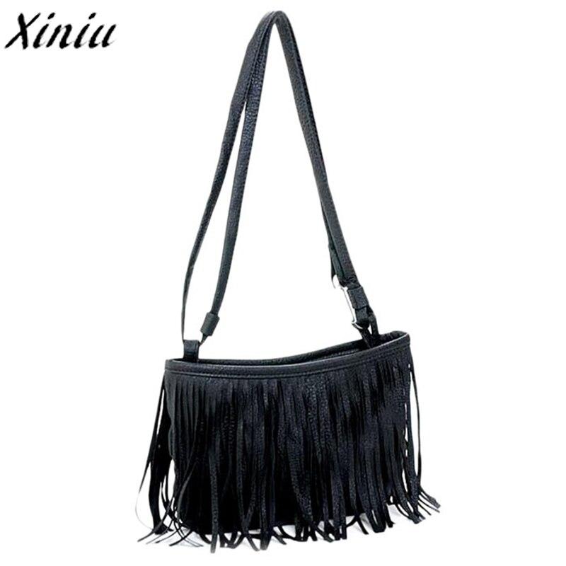 2015 Beste Verkauf Frauen Mode Schulter Tasche Quaste Einzigen Gurt Handtasche Schwarz Weiß Leder Taschen Bolsa De Festa #0926