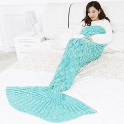 9 Colors Mermaid Blanket Handmade Knitted Sleeping Wrap TV Sofa Tail Blanket Kids Adult Baby crocheted bag Bedding Throws bag