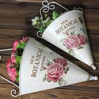 2 יחידות עיצובים המצוירים ביד מתכת בסגנון כפרי עציץ מלאכותי אגרטל פרחים מחזיק פרח מכירה חמה!
