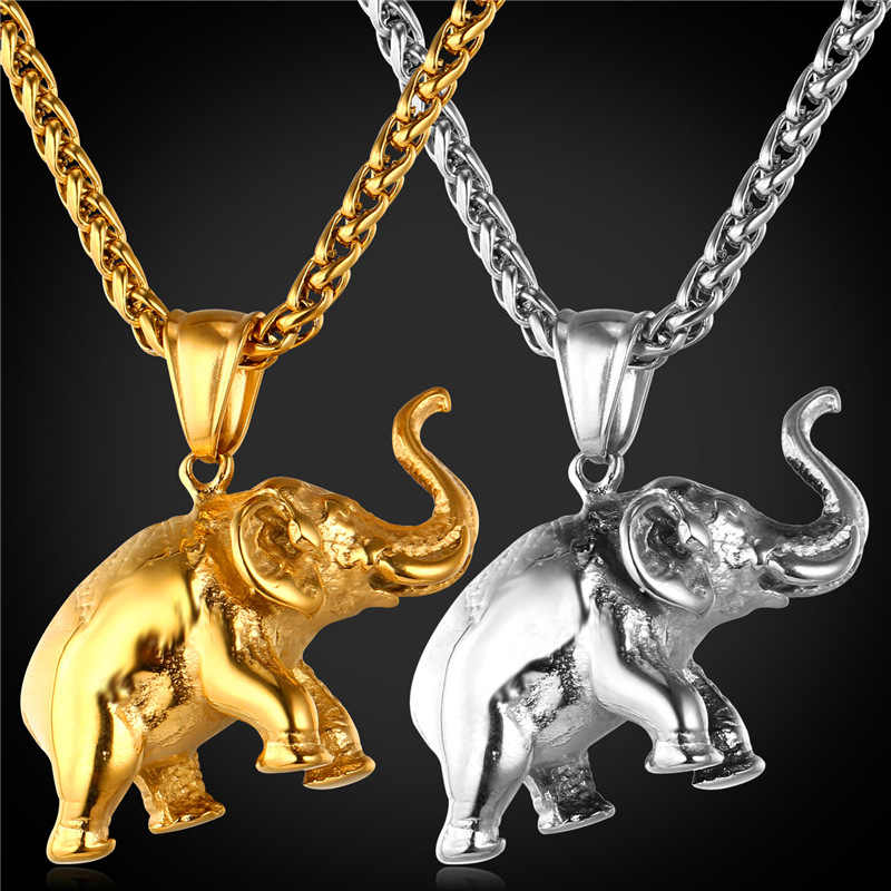 Elephant Charms Necklace 2016 New Lucky Jewelry Gift Stainless Steel/Gold Color Chain Pendant Necklace Men/Women GP1815