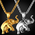 Elephant Charms Necklace 2016 New Lucky Jewelry Gift Stainless Steel/Gold Plated Chain Pendant Necklace Men/Women GP1815