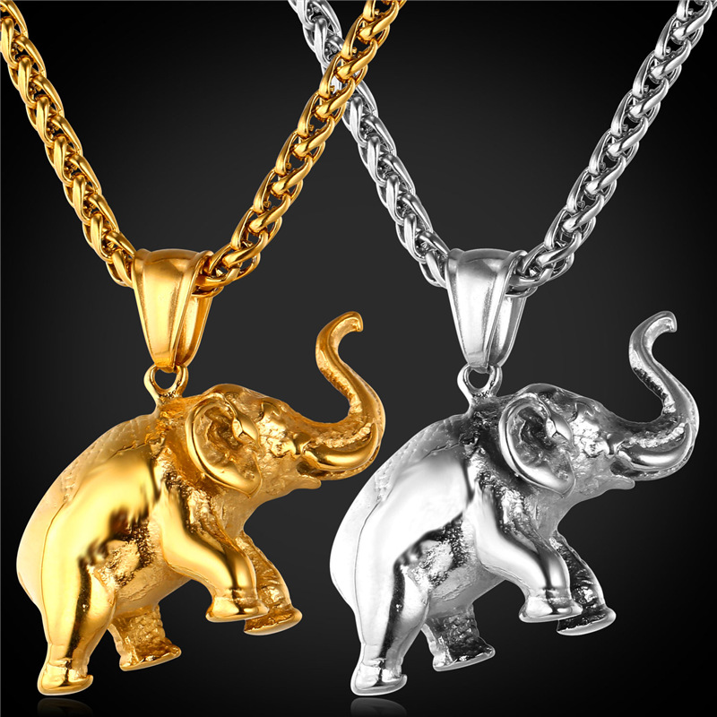 Elephant Charms Necklace 2016 New Lucky Jewelry Gift Stainless Steel/Gold Color Chain Pendant Necklace Men/Women GP1815 image