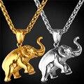 Encantos elefante Colar 2016 Novo Presente Da Jóia Sorte Aço Inoxidável/Banhado A Ouro Cadeia Pingente de Colar de Homens/Mulheres GP1815
