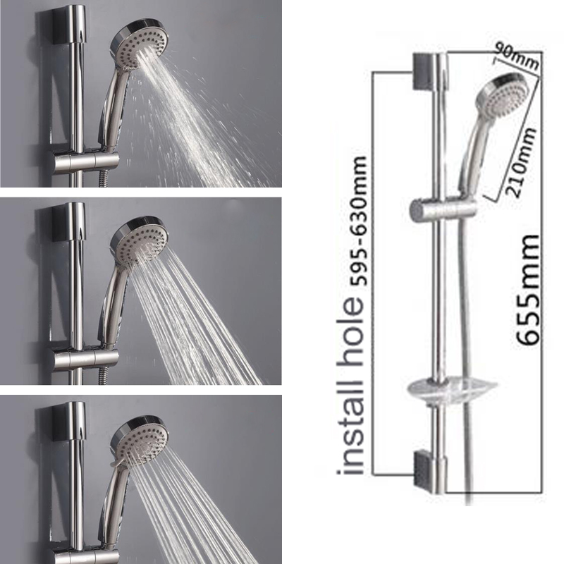 Chrome Shower Rail ABS Chrome Handheld Shower Head With Stainless ...