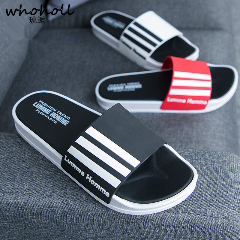 Whoholl Men's Slippers EVA Men Shoes Women Couple Flip Flops Soft Black and White Stripes Casual Summer Male Chaussures Femme 48