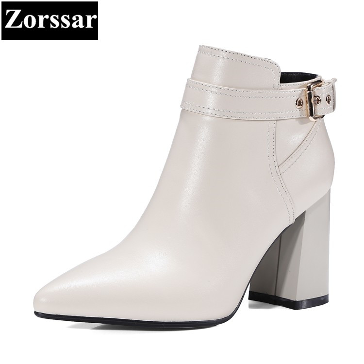 {Zorssar} 2017 New Autumn Winter fashion Women Boots Genuine leather High heels pointed Toe short Boots women ankle Riding boots 2018 new arrival genuine leather zipper runway autumn winter boots round toe high heels keep warm elegant women ankle boots l29