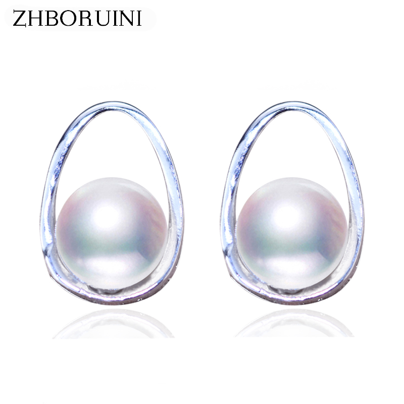 ZHBORUINI 2019 Pearl Earrings 925 Sterling Silver Round Pearl Jewelry For Women Natural Freshwater Pearl Earring Jewelry Gift