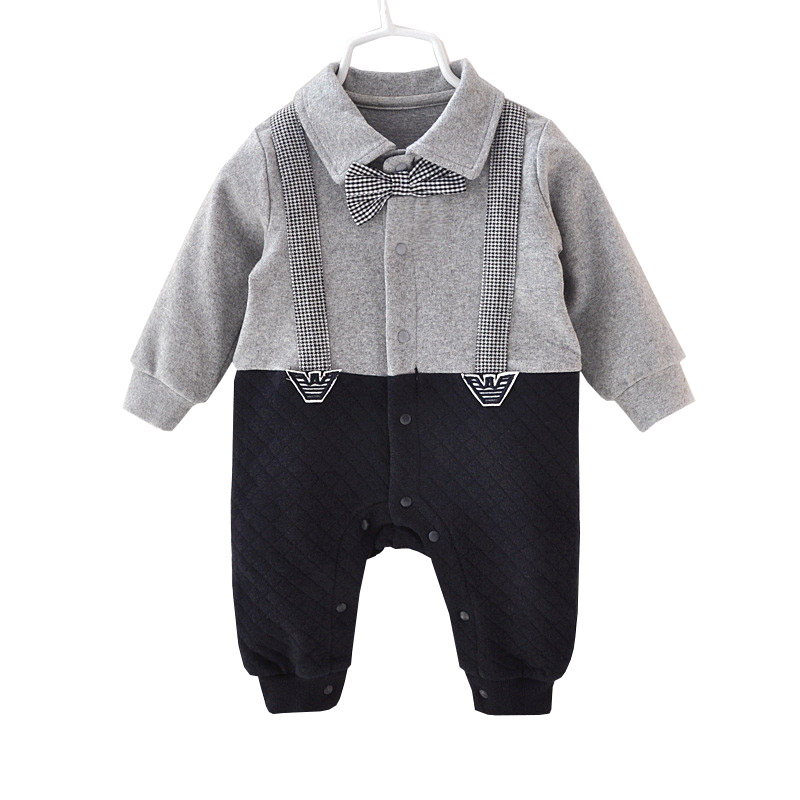 Handsome Baby Rompers Infant Newborn 0-12M Bow Tie Romper Costume Cotton Jumpsuit Clothes Body Babies Suit Baby Boys Clothing