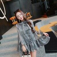 Kadın Mini elbise Aristokrat Rüzgar Inci Düğmeleri Iki Giyen Doll Acı Fleabane Elbiseler Açık Gri 3087