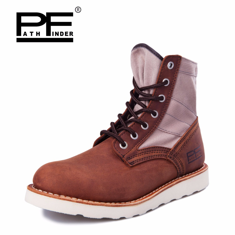Pathfind Men Genuine Leather Snow casual Motorcycle Tooling military Boots Mens Outdoor winter brown male Desert shoes zosuo men boots buckle desert british male boots leather martin boots tide retro tooling men s shoes zs337