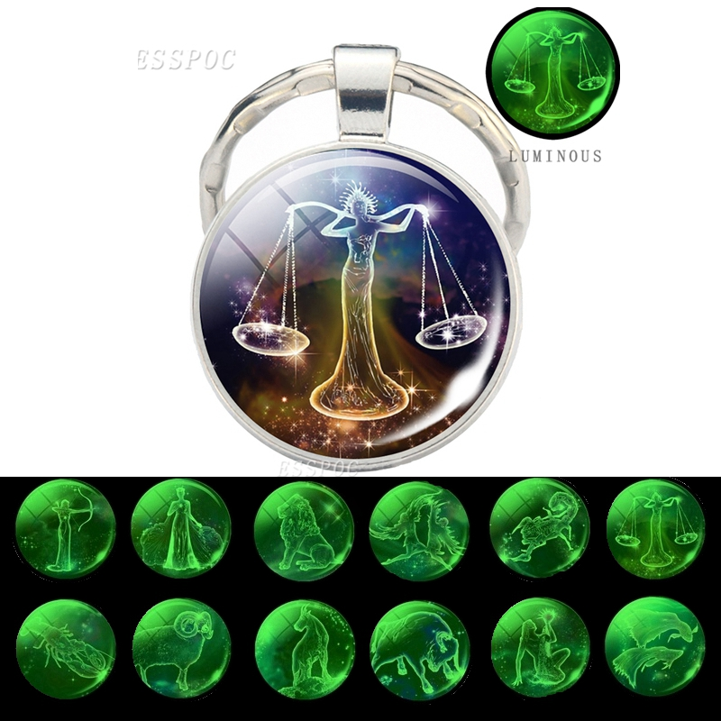 Luminous 12 Zodiac Signs Glass Cabochon Keychain Leo Libra Virgo Sagittarius Constellation Keychain Zodiac Jewelry Birthday Gift