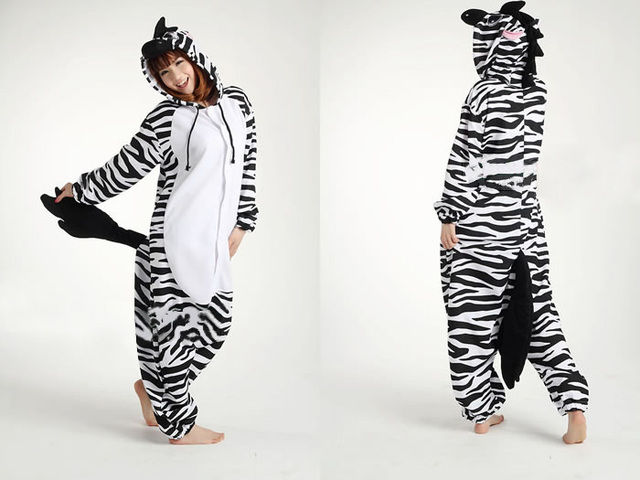 Free Shipping New Zebra Pajamas Animal Onesie Cosplay Costume Pyjamas Sleepwear Sleepsuit Unisex Adult One Piece